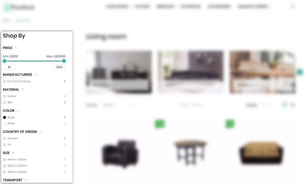 Filters in Furniture Theme